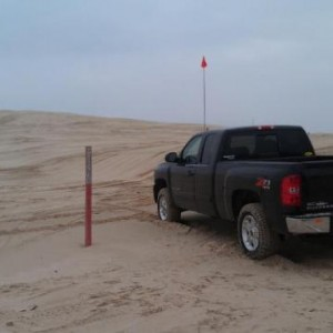 Towing a Jeep at Silver Lake Sand Dunes, MI.
