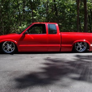 """The Red Draggin'"". Bagged, everything shaved. 18"" and 20"" Intro Wheels. SOLD!"