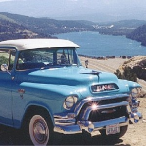 55 GMC above Donner Lake in the Sierra Nevada mountains near Nevada - California border. Engine is Pontiac V-8.