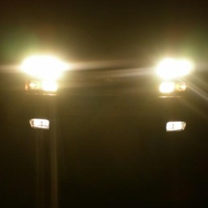 2 Low, 2 High, 2 DRL, 2 Parking Lights, 2 Fog Lights for a total of 10 up front.