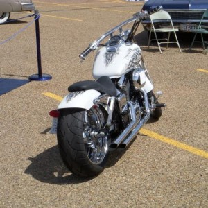 03 Honda shadow spirit, I put alot of work on this bike, you would not think its a honda shadow but it is!  Awsome airbrush work by my friend Randel W