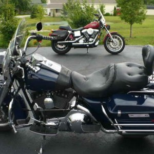 Red  98 Dyna-Convertible Blue  01 Police Road King
